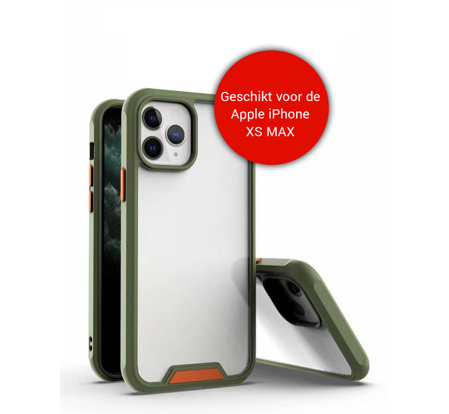 iPhone XS Max Bumper Case Hoesje - Apple iPhone XS Max - Transparant / Groen