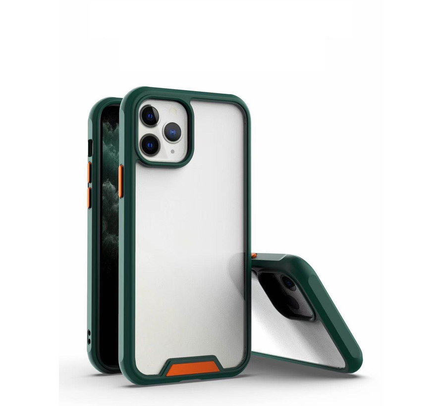 iPhone 11 Pro Max Bumper Case Hoesje - Apple iPhone 11 Pro Max - Transparant / Donkergroen