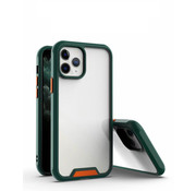 JVS Products iPhone 12 Bumper Case Hoesje - Apple iPhone 12 - Transparant / Donkergroen