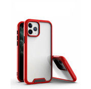 JVS Products iPhone 12 Pro Max Bumper Case Hoesje - Apple iPhone 12 Pro Max - Transparant / Rood