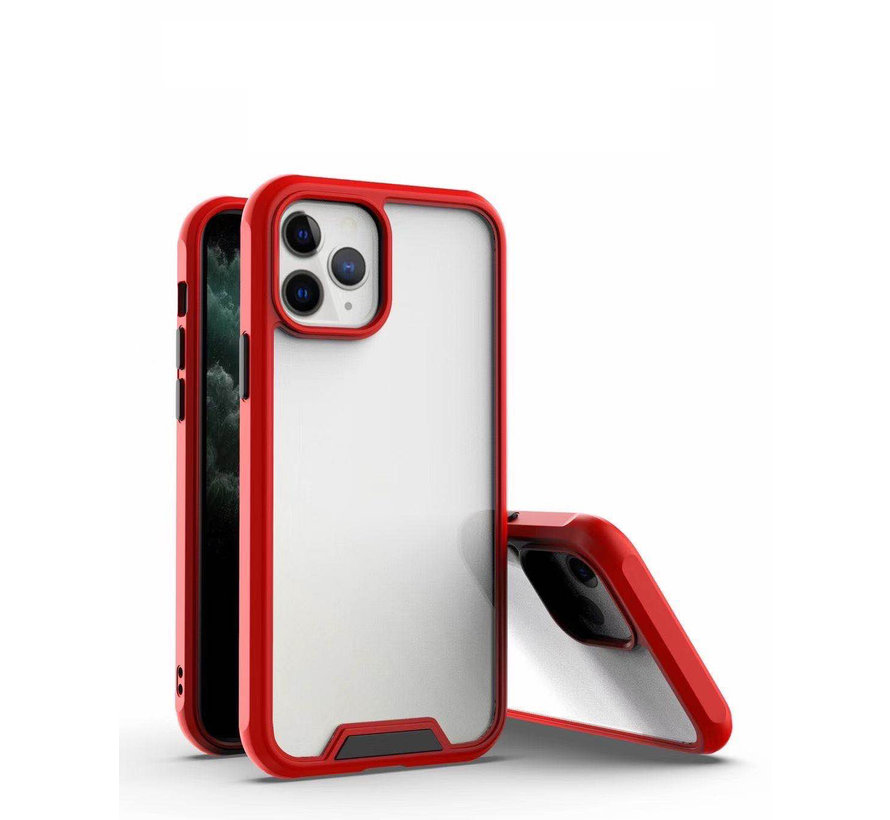 iPhone 12 Pro Max Bumper Case Hoesje - Apple iPhone 12 Pro Max - Transparant / Rood