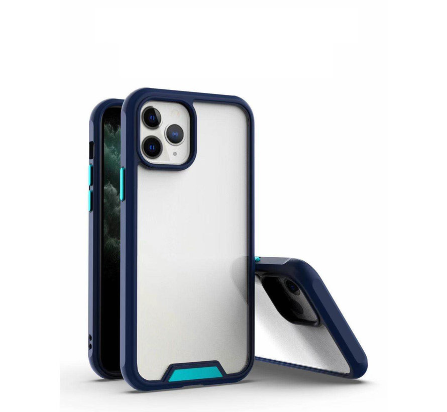 iPhone 12 Pro Max Bumper Case Hoesje - Apple iPhone 12 Pro Max - Transparant / Blauw