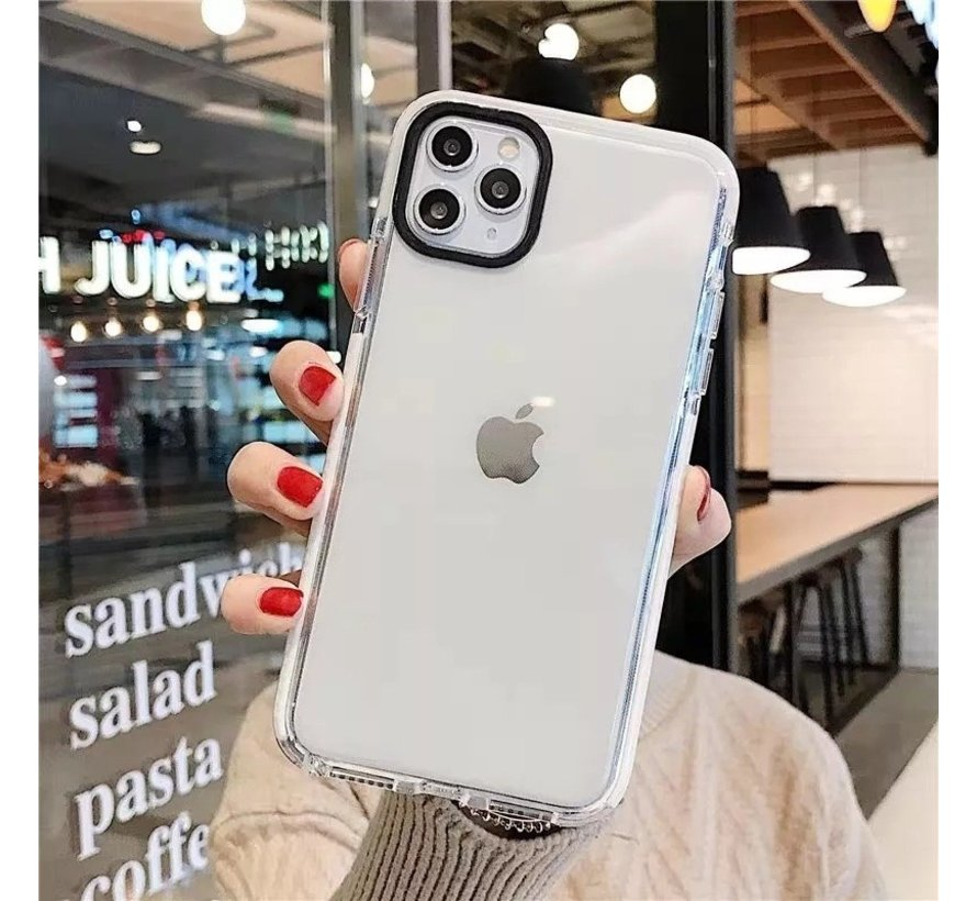 iPhone X Backcover Bumper Hoesje - Back cover - case - Apple iPhone X - Transparant / Wit