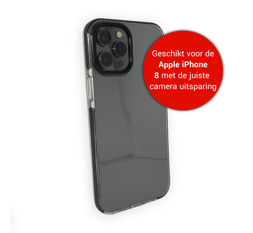 iPhone 8 Backcover Bumper Hoesje - Back cover - case - Apple iPhone 8 - Transparant / Zwart