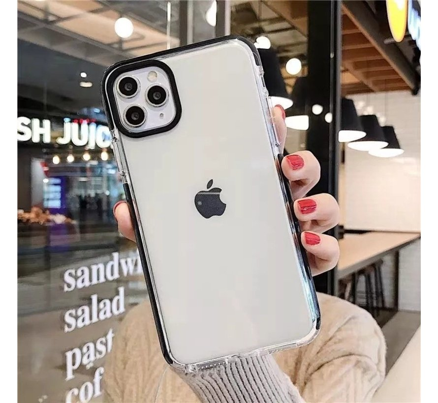 iPhone 8 Back Cover Bumper Hoesje - Backcover - Case - Apple iPhone 8 - Transparant / Zwart