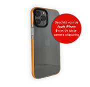 JVS Products iPhone 8 Backcover Bumper Hoesje - Back cover - case - Apple iPhone 8 - Transparant / Oranje