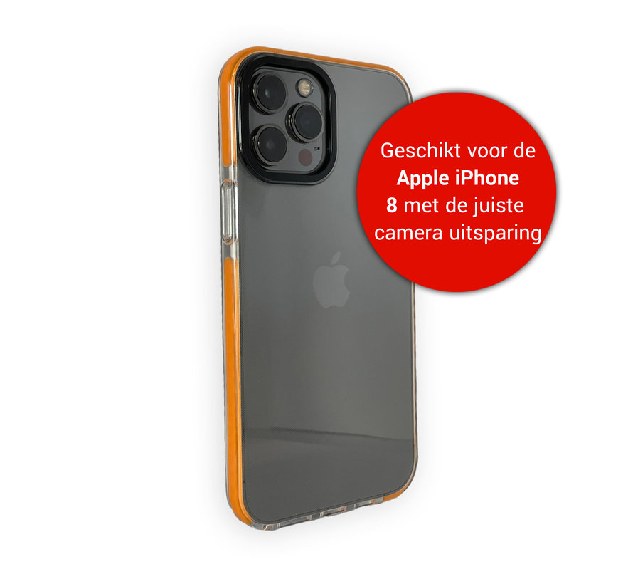 iPhone 8 Back Cover Bumper Hoesje - Backcover - Case - Apple iPhone 8 - Transparant / Oranje