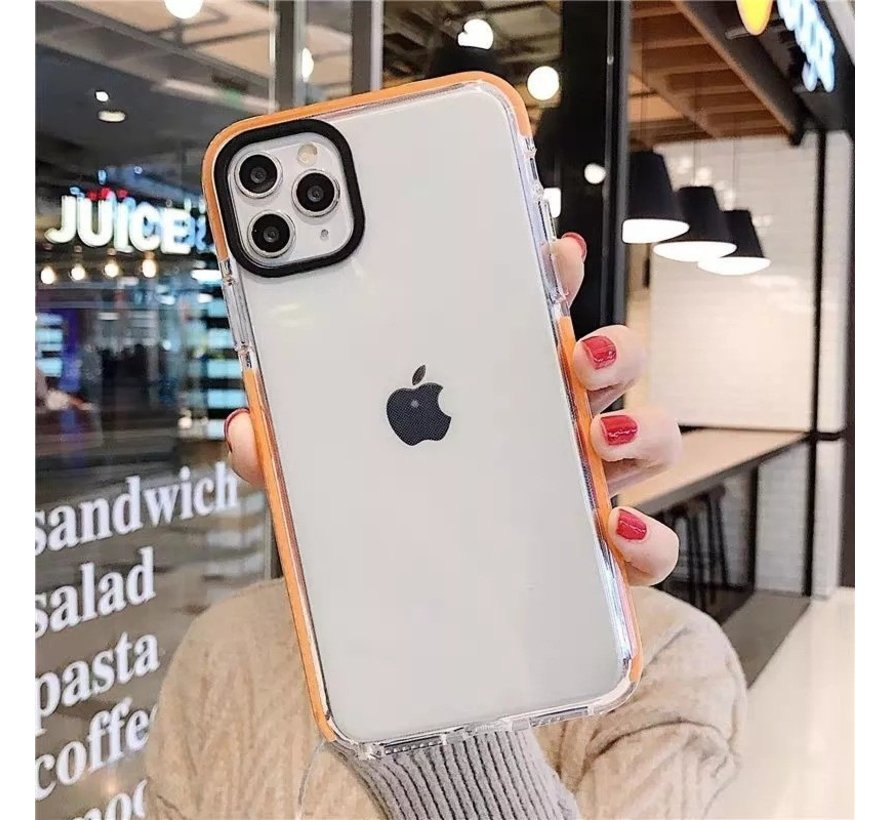 iPhone 8 Backcover Bumper Hoesje - Back cover - case - Apple iPhone 8 - Transparant / Oranje