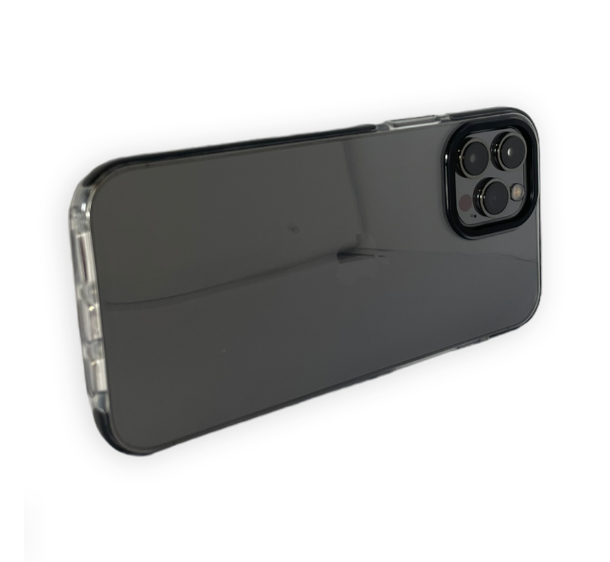 iPhone 11 Pro Max Backcover Bumper Hoesje - Back cover - case - Apple iPhone 11 Pro Max - Transparant / Zwart