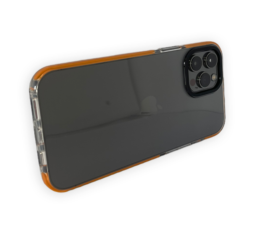 iPhone 12 Back Cover Bumper Hoesje - Backcover - Case - Apple iPhone 12 - Transparant / Oranje