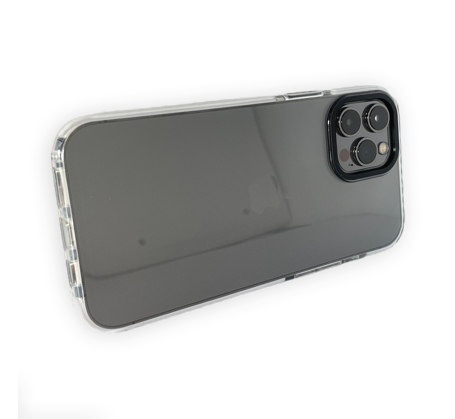 iPhone 12 Pro Backcover Bumper Hoesje - Back cover - case - Apple iPhone 12 Pro - Transparant / Wit
