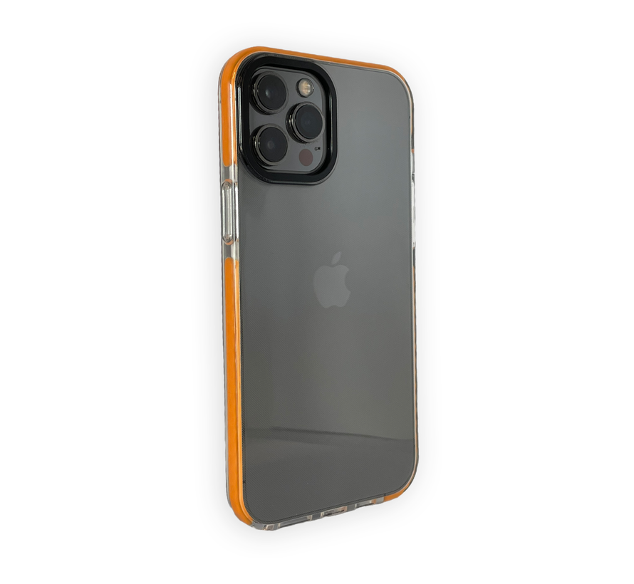 iPhone 12 Pro Max Backcover Bumper Hoesje - Back cover - case - Apple iPhone 12 Pro Max - Transparant / Oranje