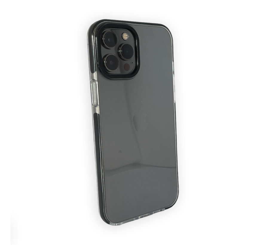 iPhone 12 Pro Max Backcover Bumper Hoesje - Back cover - case - Apple iPhone 12 Pro Max - Transparant / Zwart