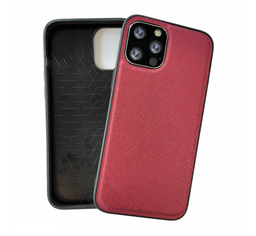 iPhone 12 Mini Back Cover Hoesje - Stof Patroon - Siliconen - Backcover - Apple iPhone 12 Mini - Rood