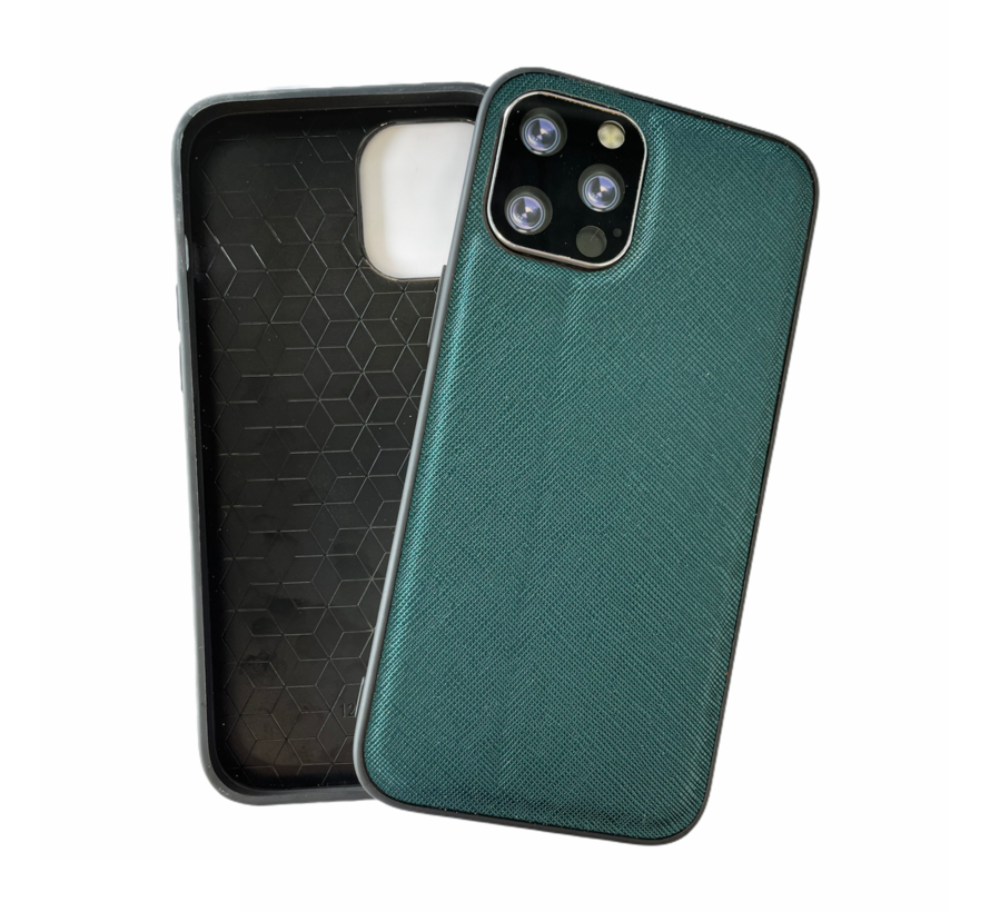 iPhone 8 Back Cover Hoesje - Stof Patroon - Siliconen - Backcover - Apple iPhone 8 - Groen
