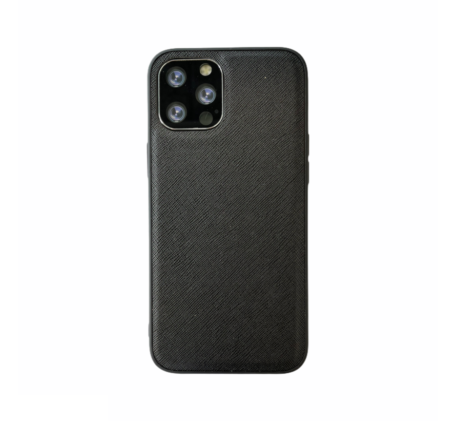 iPhone XR Back Cover Hoesje - Stof Patroon - Siliconen - Backcover - Apple iPhone XR - Zwart