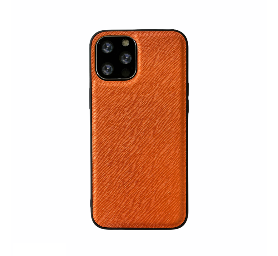 iPhone XR Back Cover Hoesje - Stof Patroon - Siliconen - Backcover - Apple iPhone XR - Oranje
