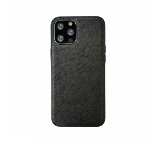JVS Products iPhone 12 Back Cover Hoesje - Stof Patroon - Siliconen - Backcover - Apple iPhone 12 - Zwart