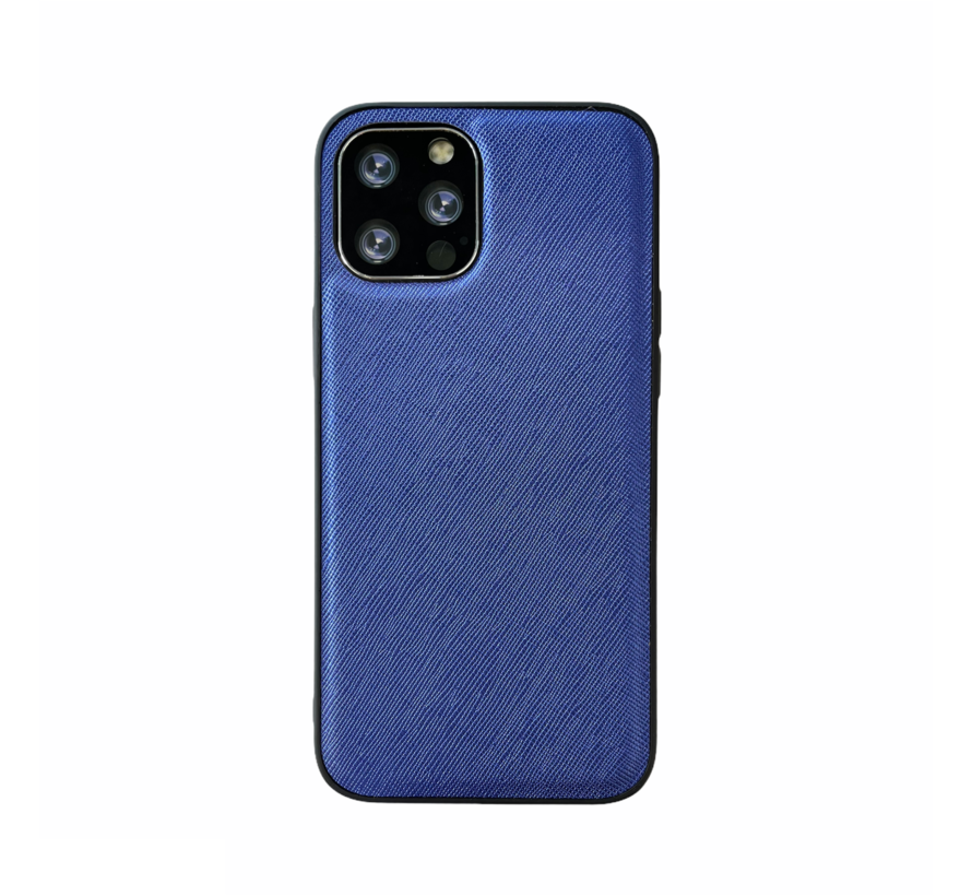 iPhone 12 Back Cover Hoesje - Stof Patroon - Siliconen - Backcover - Apple iPhone 12 - Blauw