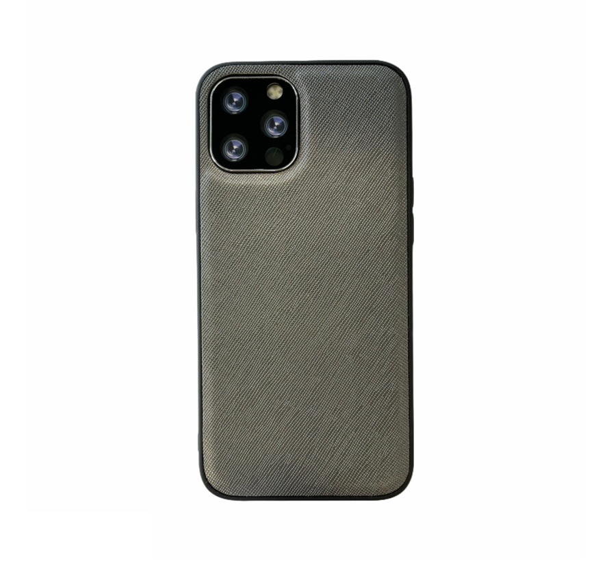 iPhone 12 Back Cover Hoesje - Stof Patroon - Siliconen - Backcover - Apple iPhone 12 - Grijs