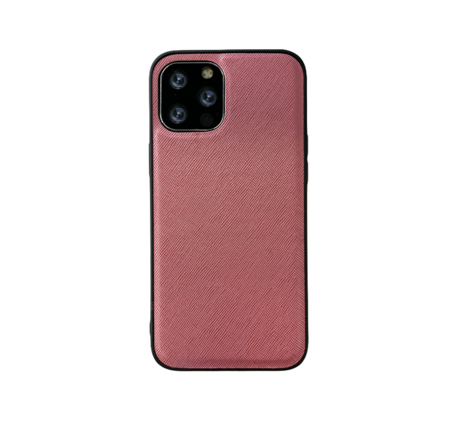 iPhone 12 Back Cover Hoesje - Stof Patroon - Siliconen - Backcover - Apple iPhone 12 - Roze