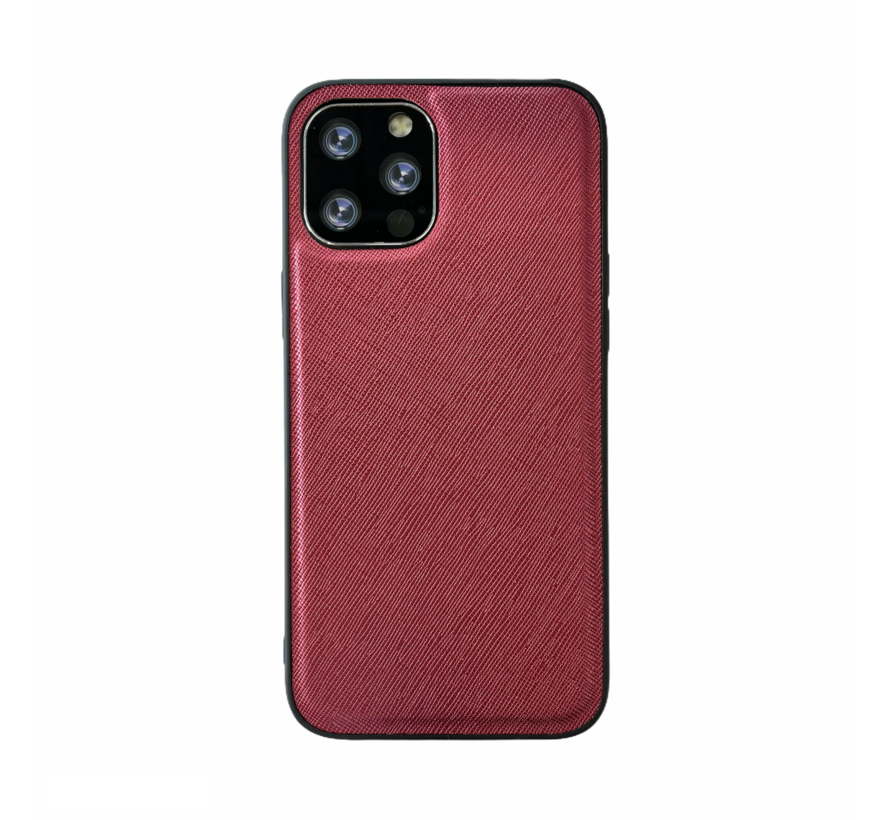 iPhone 12 Back Cover Hoesje - Stof Patroon - Siliconen - Backcover - Apple iPhone 12 - Rood