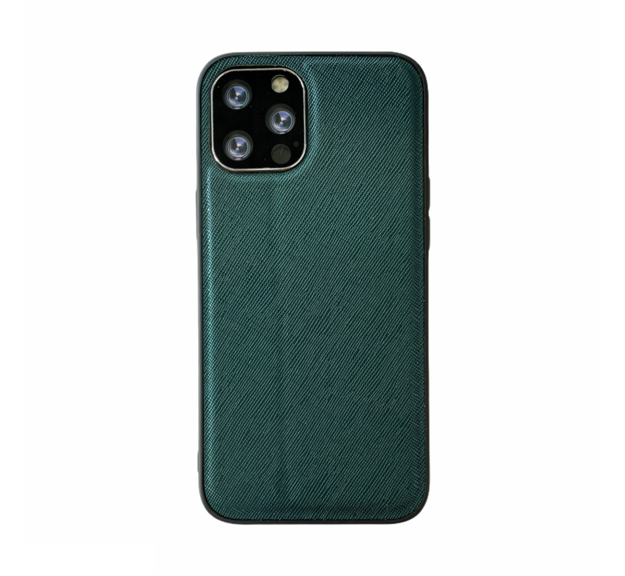 iPhone 12 Back Cover Hoesje - Stof Patroon - Siliconen - Backcover - Apple iPhone 12 - Groen