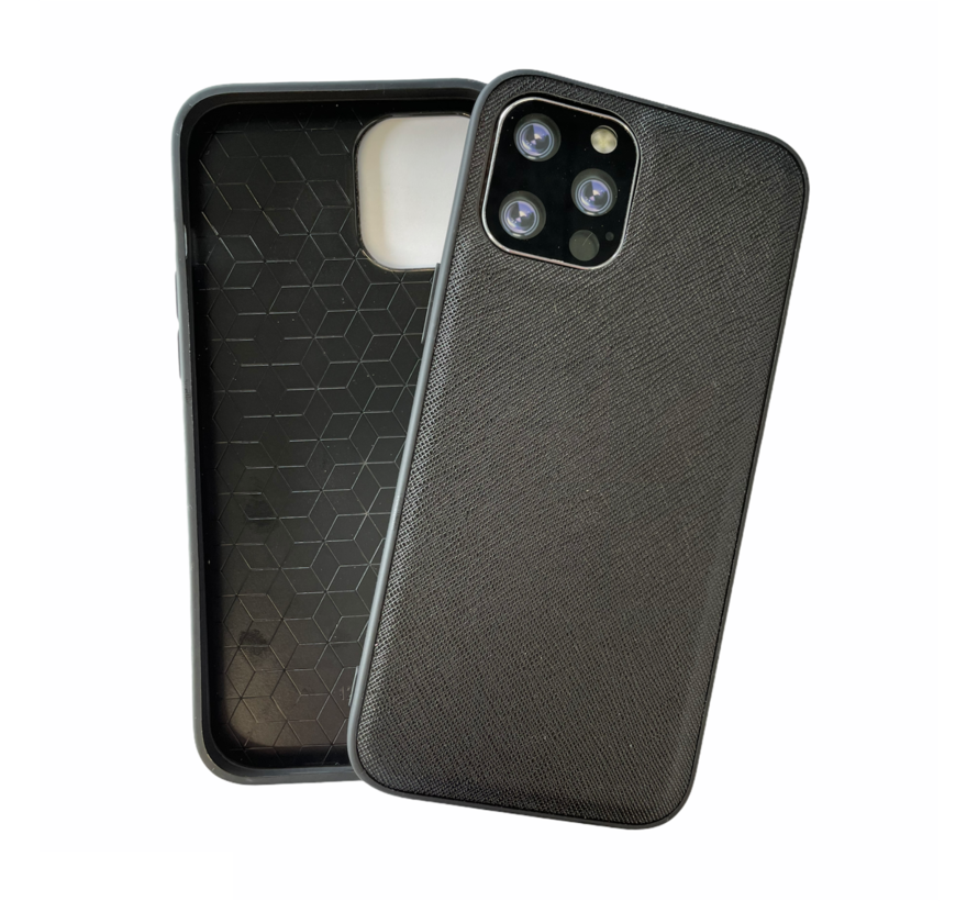 iPhone 12 Pro Back Cover Hoesje - Stof Patroon - Siliconen - Backcover - Apple iPhone 12 Pro - Zwart