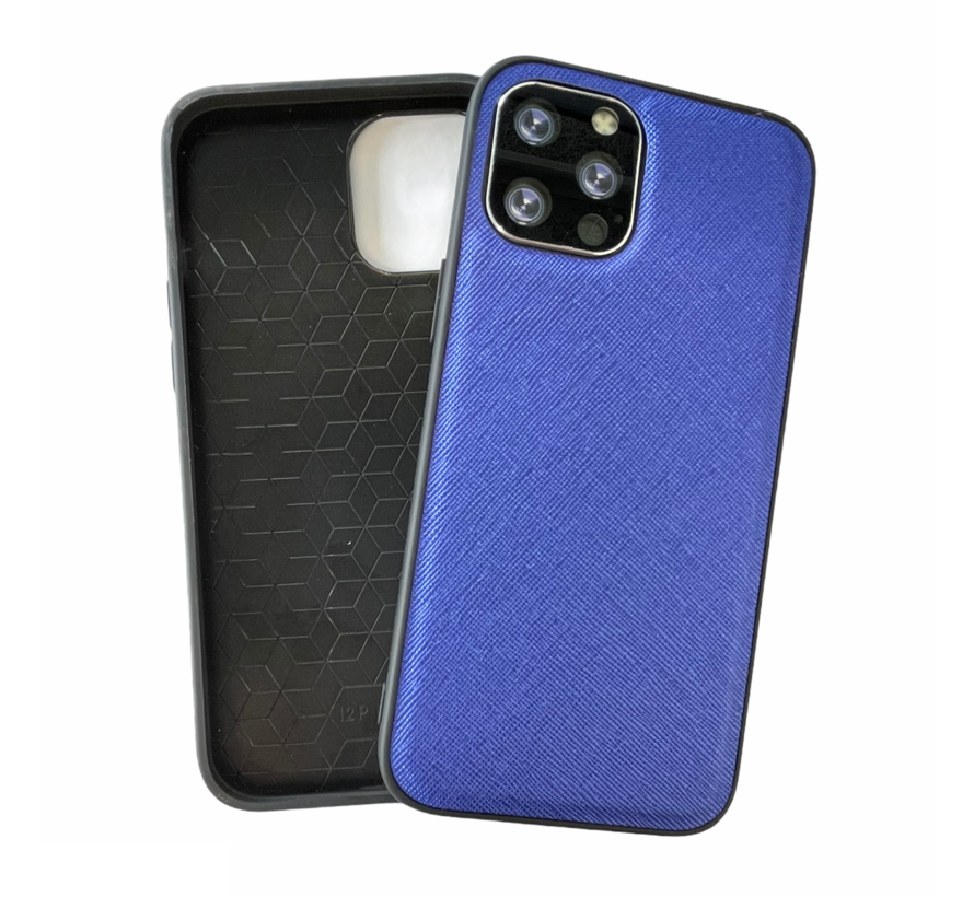 iPhone 12 Pro Back Cover Hoesje - Stof Patroon - Siliconen - Backcover - Apple iPhone 12 Pro - Blauw