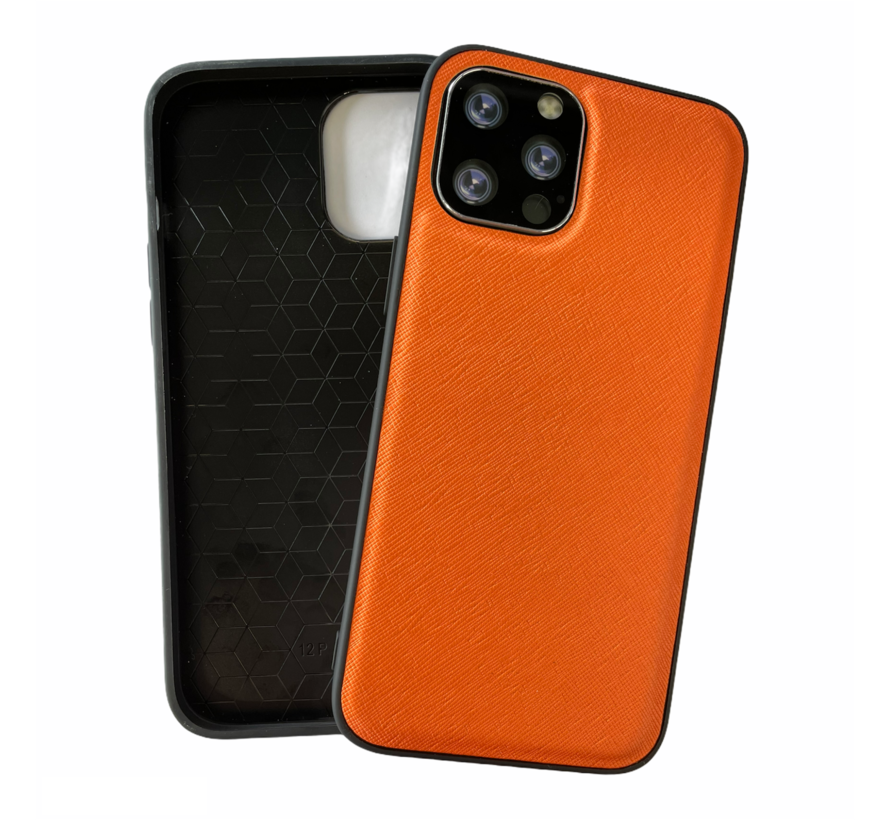 iPhone 12 Pro Back Cover Hoesje - Stof Patroon - Siliconen - Backcover - Apple iPhone 12 Pro - Oranje