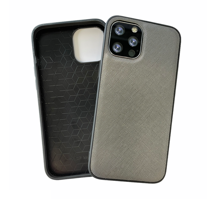 iPhone 12 Pro Back Cover Hoesje - Stof Patroon - Siliconen - Backcover - Apple iPhone 12 Pro - Grijs