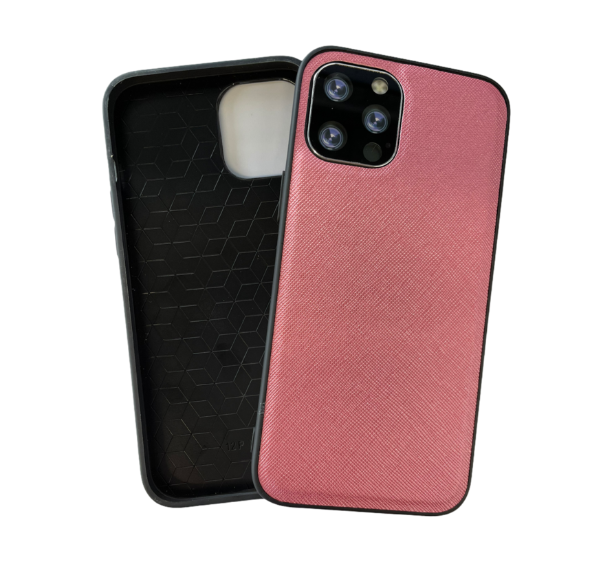 iPhone 12 Pro Back Cover Hoesje - Stof Patroon - Siliconen - Backcover - Apple iPhone 12 Pro - Roze