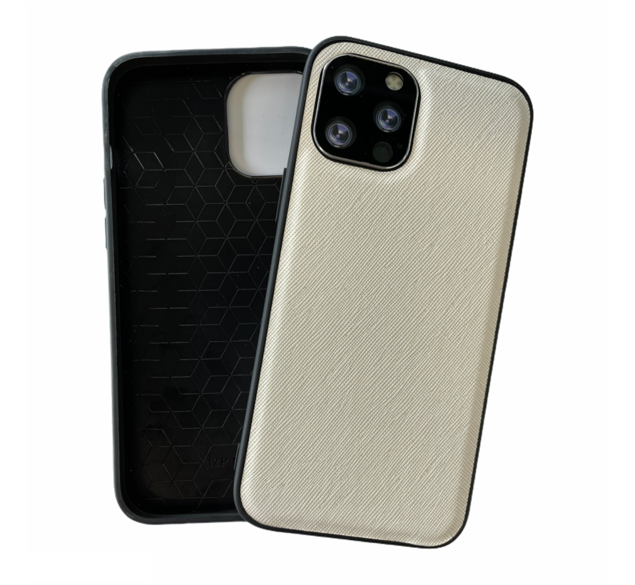 iPhone 12 Back Cover Hoesje - Stof Patroon - Siliconen - Backcover - Apple iPhone 12 - Wit