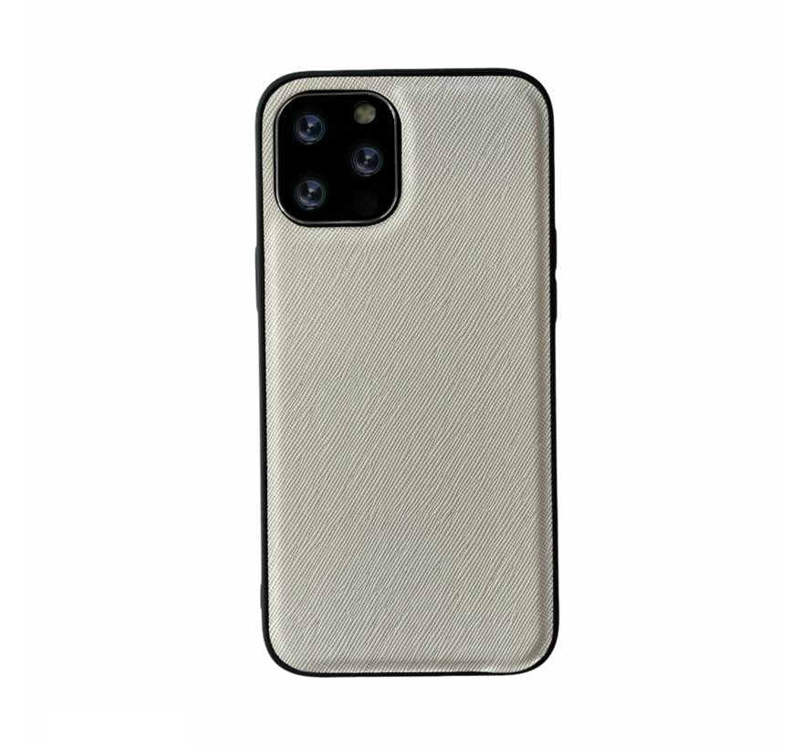 iPhone 12 Pro Back Cover Hoesje - Stof Patroon - Siliconen - Backcover - Apple iPhone 12 Pro - Wit