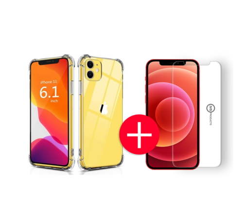 JVS Products iPhone 11 Anti-Shock Hoesje + GRATIS Screenprotector - Transparant - Extra - Dun - Apple iPhone 11 hoes - cover - case - Screenprotector kit