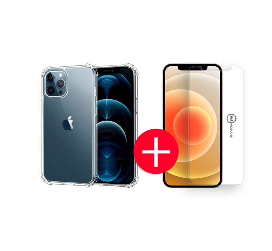 iPhone 12 Pro Anti-Shock Hoesje + GRATIS Screenprotector - Transparant - Extra - Dun - Apple iPhone 12 Pro hoes - cover - case - Screenprotector kit