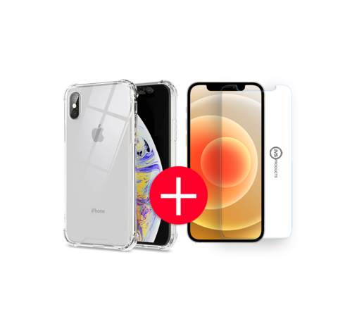 JVS Products iPhone X Anti-Shock Hoesje + GRATIS Screenprotector - Transparant - Extra - Dun - Apple iPhone X hoes - cover - case - Screenprotector kit