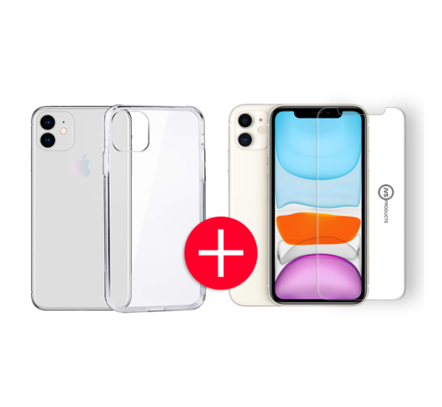 JVS Products iPhone 11 Transparant Hoesje + GRATIS Screenprotector - Transparant - Extra Dun - Apple iPhone 11 - Hoes - Cover - Case - Screenprotector kit