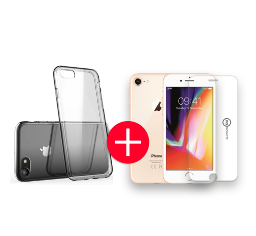 JVS Products iPhone 8 Transparant Hoesje + GRATIS Screenprotector - Transparant - Extra Dun - Apple iPhone 8 - Hoes - Cover - Case - Screenprotector kit