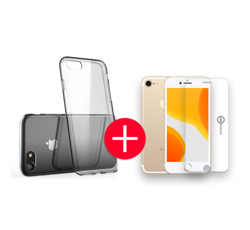 JVS Products iPhone 7 Transparant Hoesje + GRATIS Screenprotector - Transparant - Extra Dun - Apple iPhone 7 - Hoes - Cover - Case - Screenprotector kit