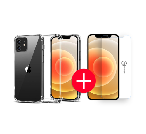 JVS Products iPhone 12 Anti-Shock Hoesje + GRATIS Screenprotector - Transparant - Extra - Dun - Apple iPhone 12 hoes - cover - case - Screenprotector kit