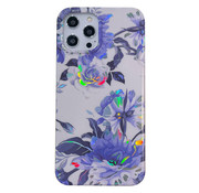 JVS Products iPhone 7 Back Cover Hoesje - Bloemenprint - Bloemen - Soft TPU - Backcover - Apple iPhone 7 - Wit / Paars