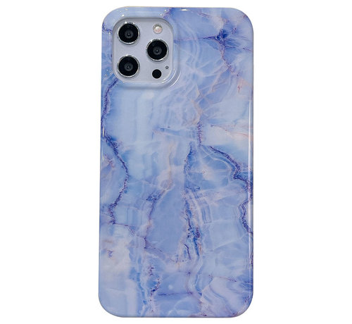 JVS Products iPhone 7 Back Cover Hoesje Marmer - Marmerprint - Marble Design - Soft TPU - Backcover - Apple iPhone 7 - Marmer Blauw / Paars