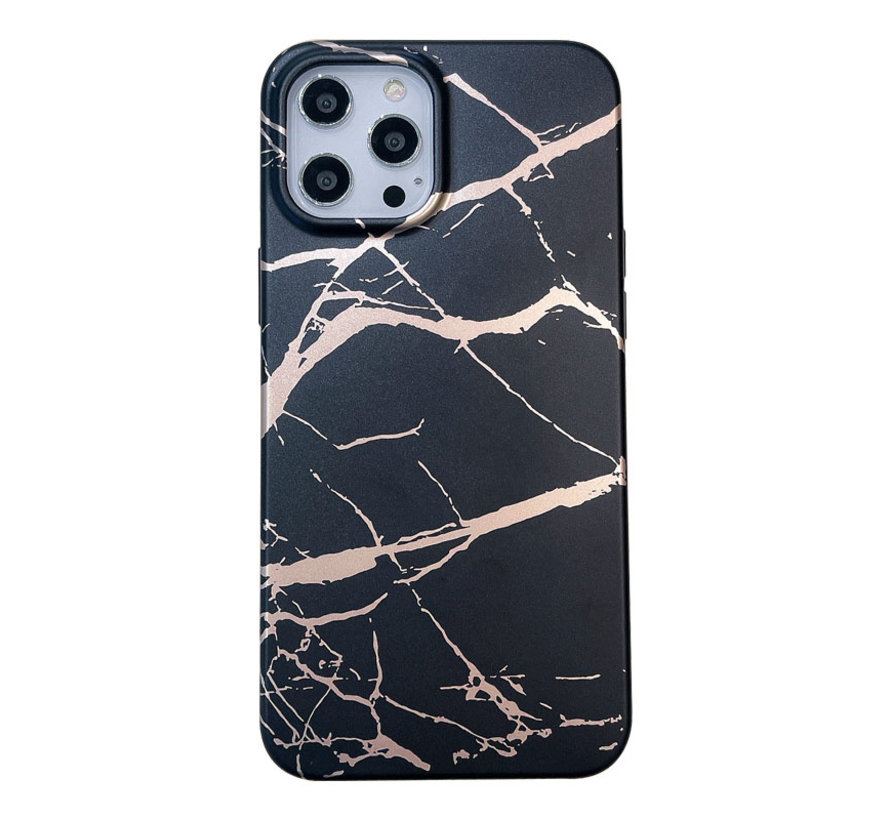 iPhone 11 Pro Max Back Cover Hoesje Marmer - Marmerprint - Marble Design - Soft TPU - Backcover - Apple iPhone 11 Pro Max - Marmer Zwart