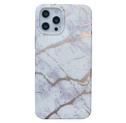 JVS Products iPhone 12 Back Cover Hoesje Marmer - Marmerprint - Marble Design - Soft TPU - Backcover - Apple iPhone 12 - Marmer Wit