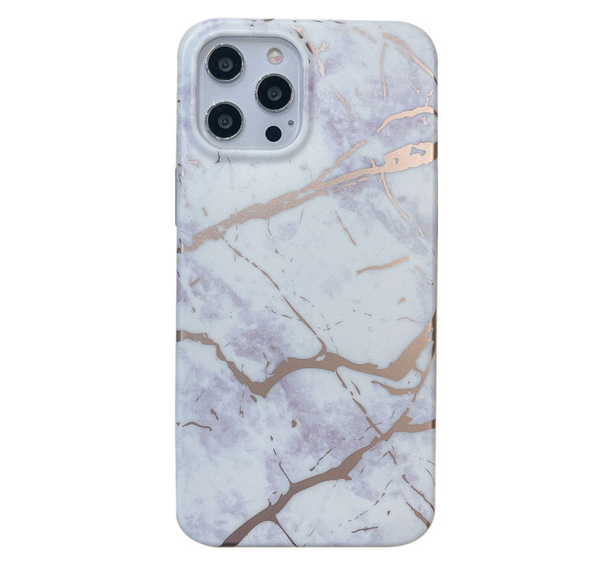 iPhone 12 Back Cover Hoesje Marmer - Marmerprint - Marble Design - Soft TPU - Backcover - Apple iPhone 12 - Marmer Wit