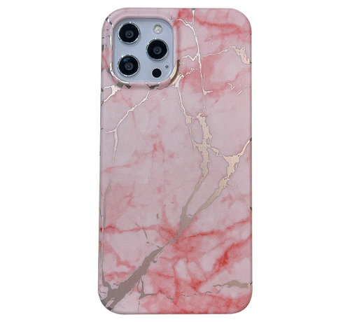 JVS Products iPhone 12 Back Cover Hoesje Marmer - Marmerprint - Marble Design - Soft TPU - Backcover - Apple iPhone 12 - Marmer Roze