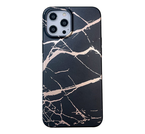 JVS Products iPhone 12 Pro Back Cover Hoesje Marmer - Marmerprint - Marble Design - Soft TPU - Backcover - Apple iPhone 12 Pro - Marmer Zwart
