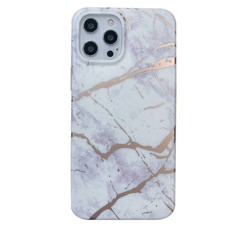 JVS Products iPhone 12 Pro Back Cover Hoesje Marmer - Marmerprint - Marble Design - Soft TPU - Backcover - Apple iPhone 12 Pro - Marmer Wit
