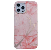 JVS Products iPhone 12 Pro Max Back Cover Hoesje Marmer - Marmerprint - Marble Design - Soft TPU - Backcover - Apple iPhone 12 Pro Max - Marmer Roze